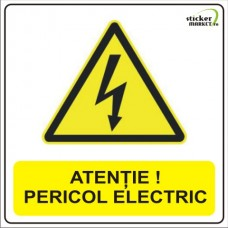 Sticker psi pericol electric 14x14cm