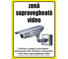 Supraveghere video conform GDPR 20x15cm
